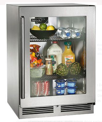 "Perlick 24"" Signature Series Outdoor Refrigerator w/ Stainless Steel Glass Door"