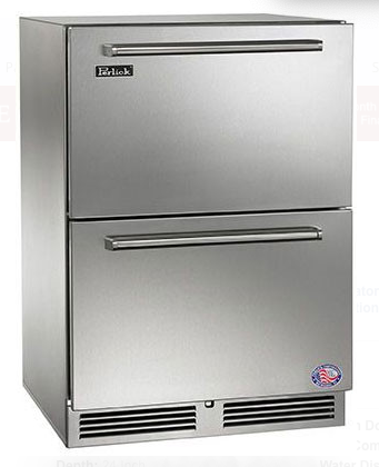 "Perlick 24"" Stainless Steel Signature Series OD Refrigerator Drawers"