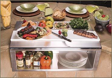 "Alfresco 30"" Plate & Garnish Rail w/ Food Pans - Premier Grilling"