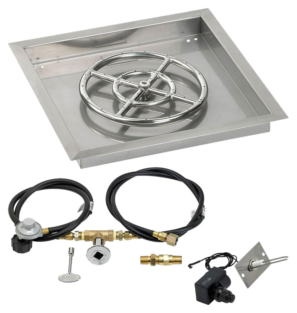 "HPC 18"" Square Drop-In Pan w/ Spark Ignition Kit (12"" Fire Pit Ring) - Premier Grilling"