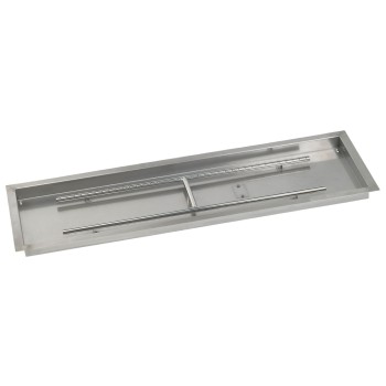 "HPC 48"" x 14"" Stainless Steel Rectangle Drop-In Fire Pit Pan (Burner Included) - Premier Grilling"
