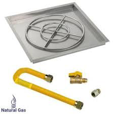 "HPC 30"" High Capacity Square Drop-In Pan w/ Match Lite Kit (24"" Fire Pit Ring), Natural Gas - Premier Grilling"