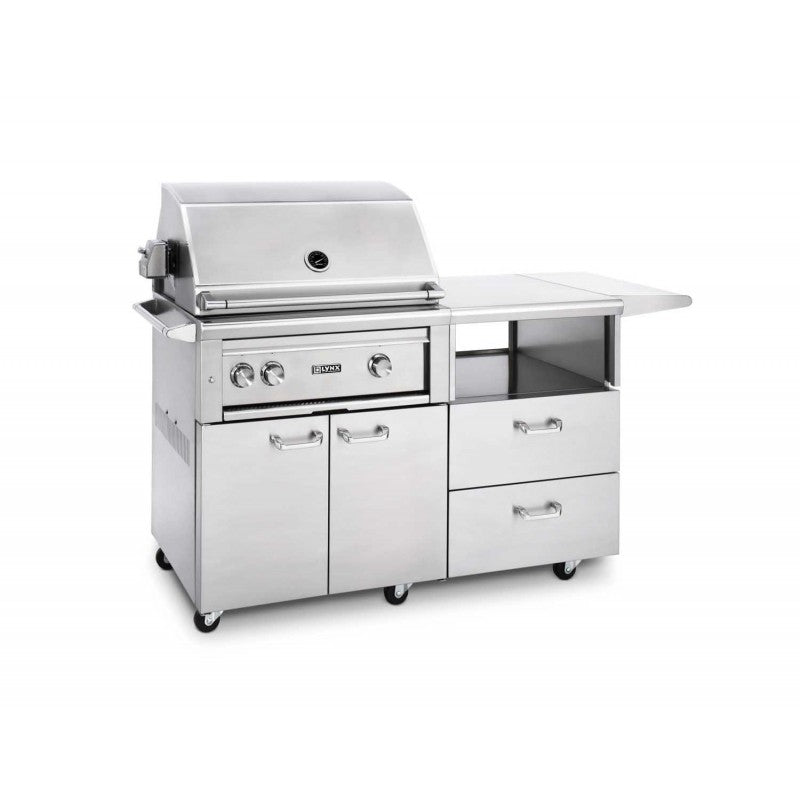 "Lynx 30"" Grill w/ Rotisserie on Mobile Kitchen Cart - Premier Grilling"
