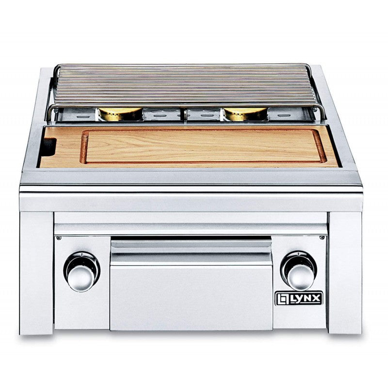Lynx Double, Side-By-Side Burners, Maple Cutting Board & Drawer - Premier Grilling