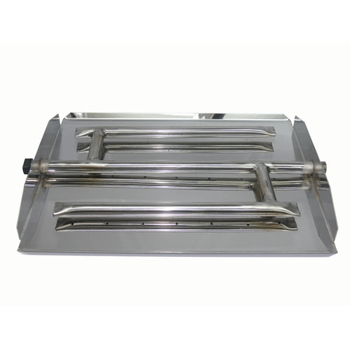 "Tretco 35"" Stainless Steel Triple Xtra Flame Burner Pan - Premier Grilling"