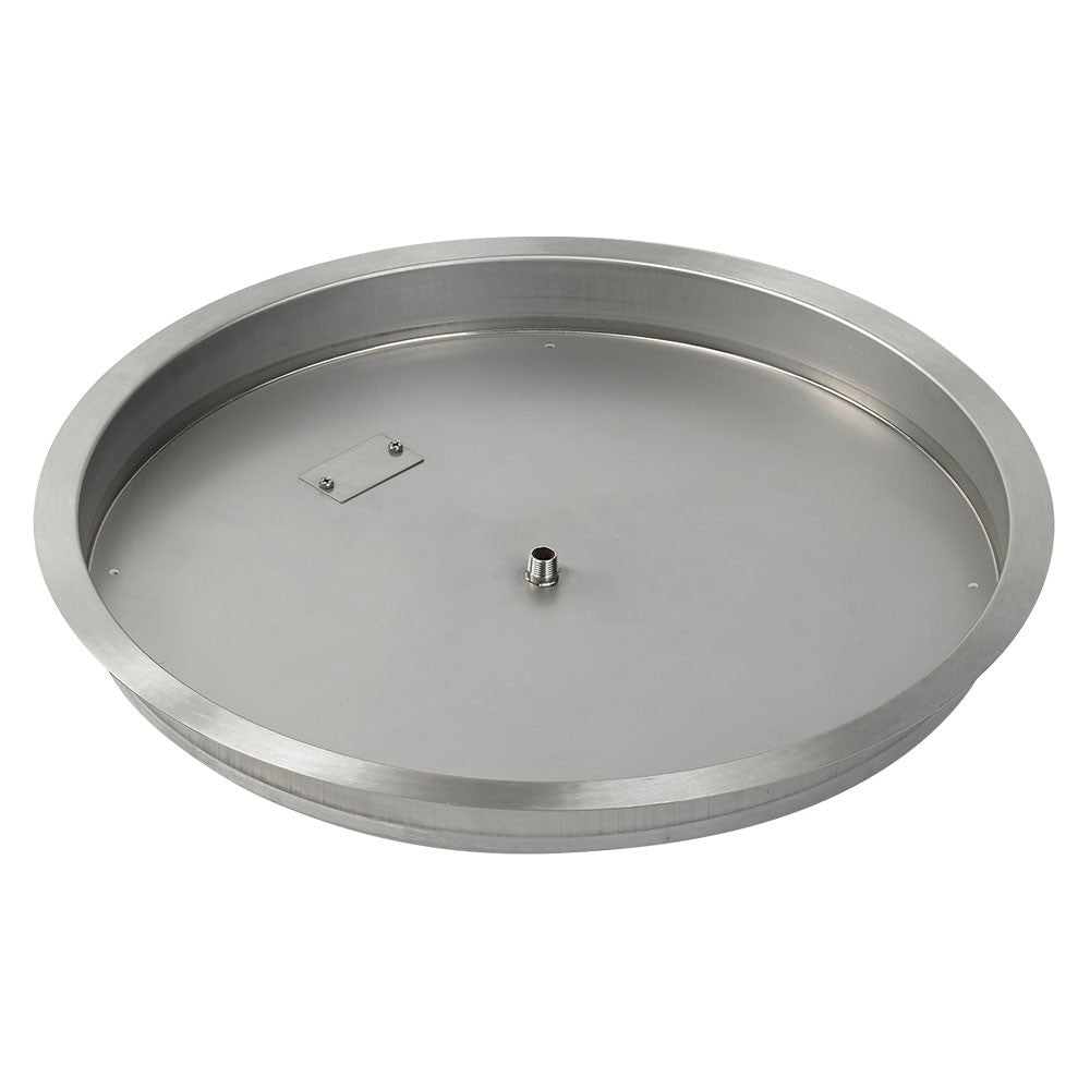 "HPC 25"" Round Stainless Steel Drop-In Fire Pit Pan (1/2"" Nipple) - Premier Grilling"
