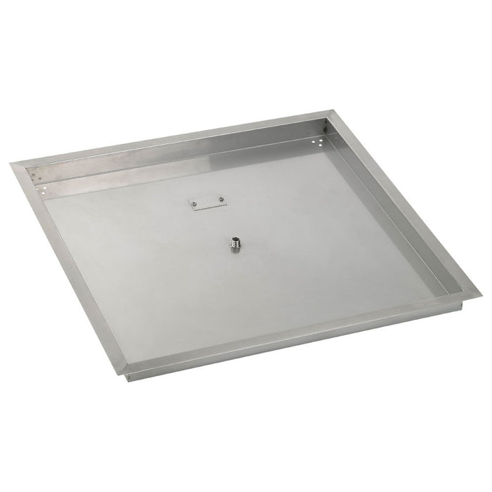 "HPC 30"" Sqaure Stainless Steel Drop-In Fire Pit Pan (1/2"" Nipple) - Premier Grilling"
