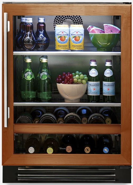 "True Residential 24"" Beverage Center w/ Glass Door, 2 Glass Shelves, 5 Glide Out Wine Racks, 1 Floor Cradle - Premier Grilling"