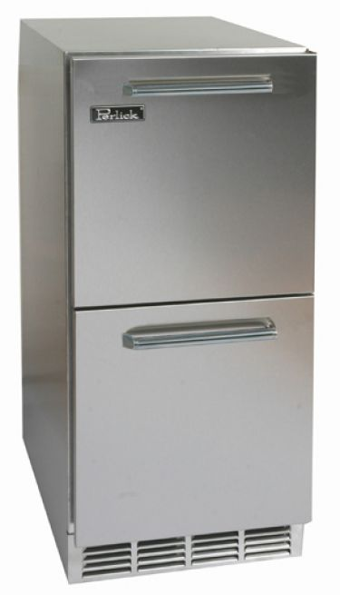 "Perlick 15"" Stainless Steel Refrigerator w/ Stainless Steel Drawers"