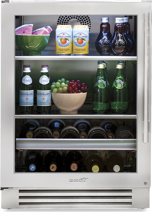 True Residential Beverage Center w/ Stainless Steel Glass Door, 2 Glass Shelves, 1 Glide Out Wine Rack, 1 Floor Cradle