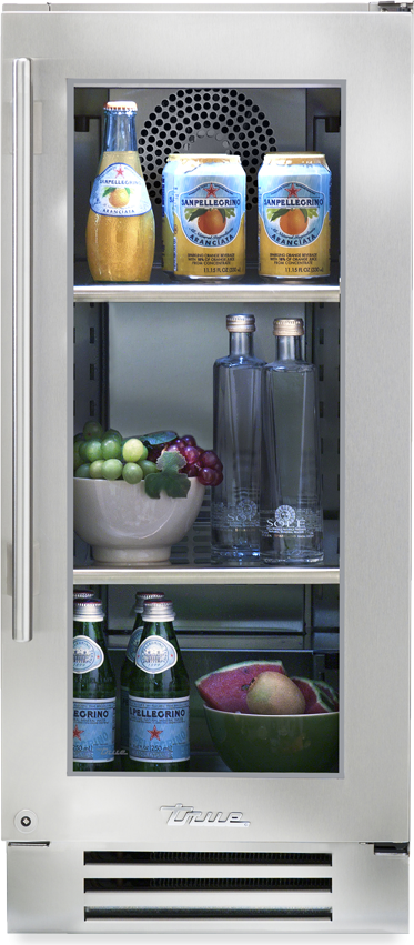 True Residential Undercounter Refrigerator w/ Stainless Steel Glass Door, 2 Glass Shelves - Premier Grilling