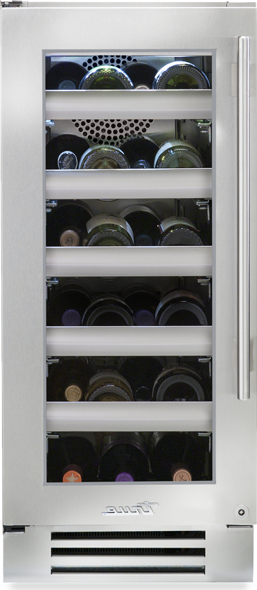 True Residential Wine Cabinet w/ Stainless Steel Glass Door, 5 Glide Out Wine Racks, 1 Floor Cradle