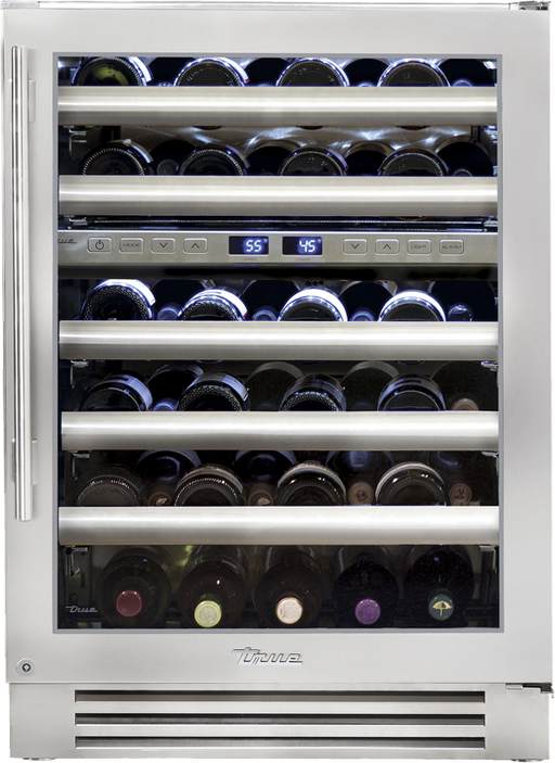 True Residential Dual Zone Wine Cabinet w/ Stainless Steel Glass Door, 5 Glide Out Wine Racks, 1 Floor Cradle