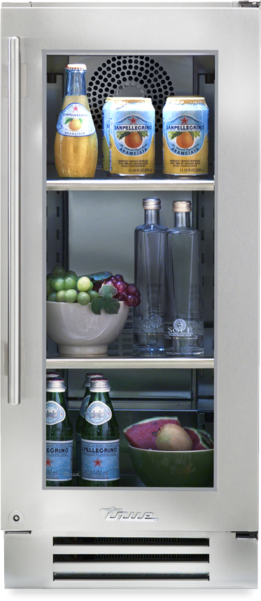 True Residential Refrigerator w/ Glass Door, Left Hinge - Premier Grilling