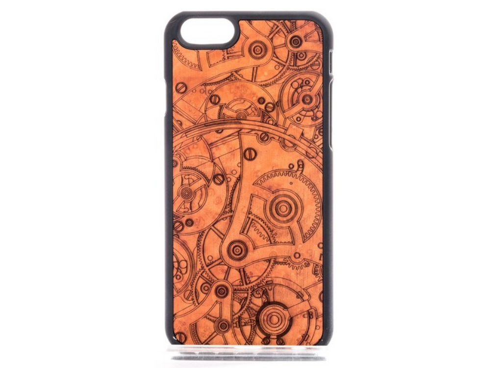 Wooden phone case with steam punk design