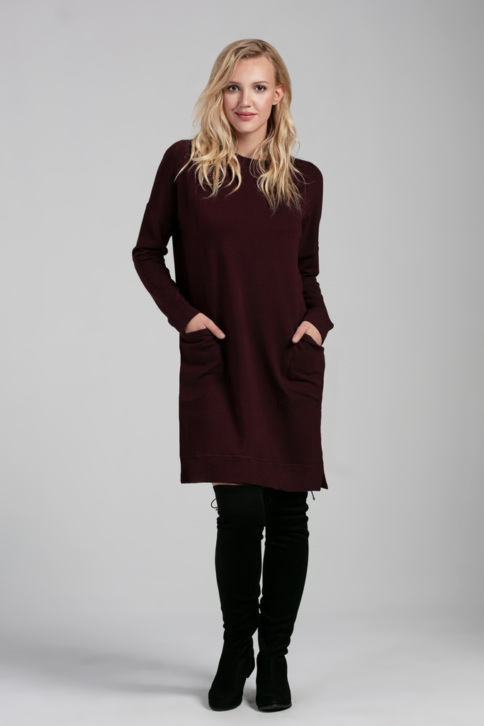 Organic Womens Dresses-long sleeve-sweaters-Fleece Essentials-Bamboo Clothing-Eco Friendly-LNBF USA