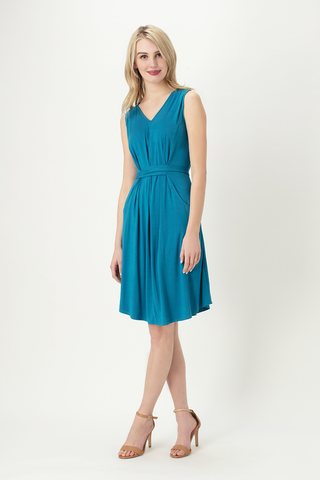 Mona Pleat Drop Pocket Midi Dress