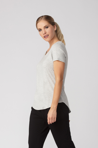 Womens Tshirts-Grey Melange Tee-Bamboo Clothing-Organic-Eco Friendly-LNBF USA