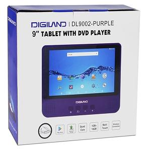 "Digiland DL9002-PURPLE 2-in-1 Android Tablet + DVD Player - Quad-Core 1.3GHz 1GB 16GB 9"" Touchscreen Tablet Android 7.0"