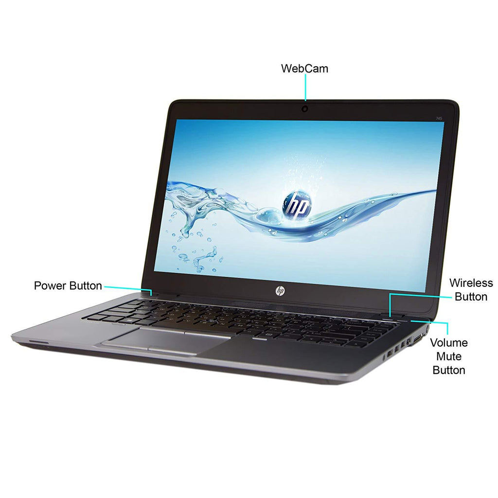"HP EliteBook 745 G2 Fusion Dual-Core A6 Pro-7050B 2.2GHz 4GB 500GB HDD 14"" LED Notebook Windows 7 Professional - Black, Silver"