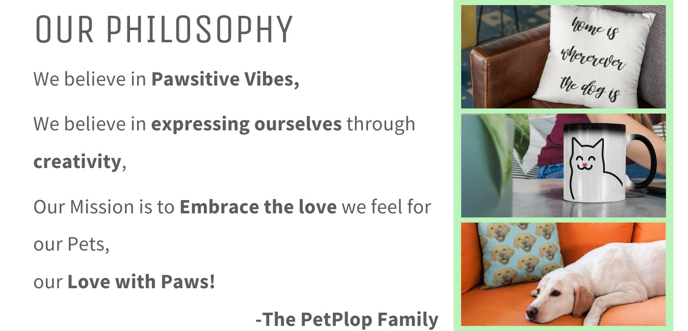 PetPlop About Us Mission, Vision, Personalized Gift Store, Custom Pet Gifts, Dog, Cat, Bunny, Perfect Gift Pet Lover