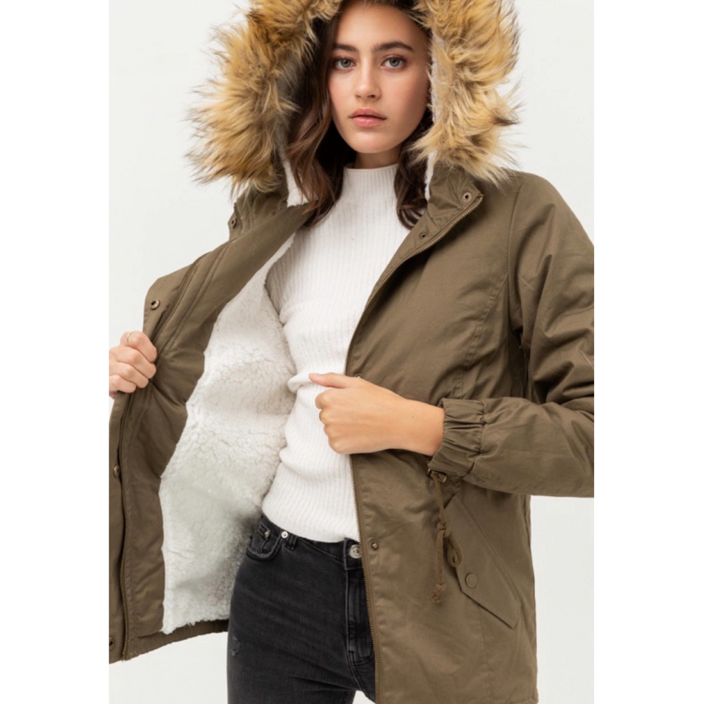 Angie Fur Jacket - Olive