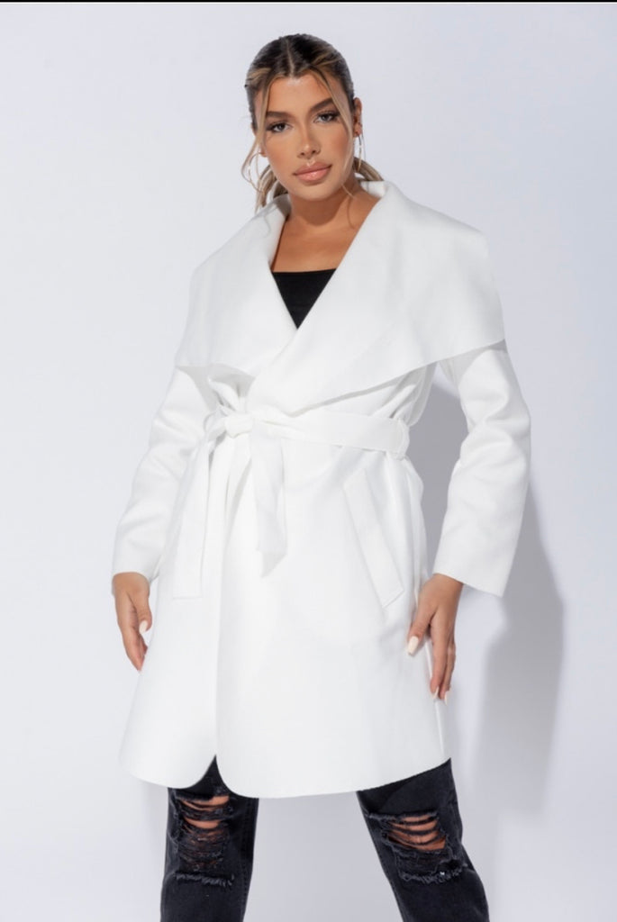 Double Latte (Mid Length) Waterfall Coat - Off White