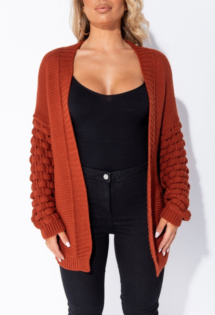Fall Is Calling Cardigan - Rust