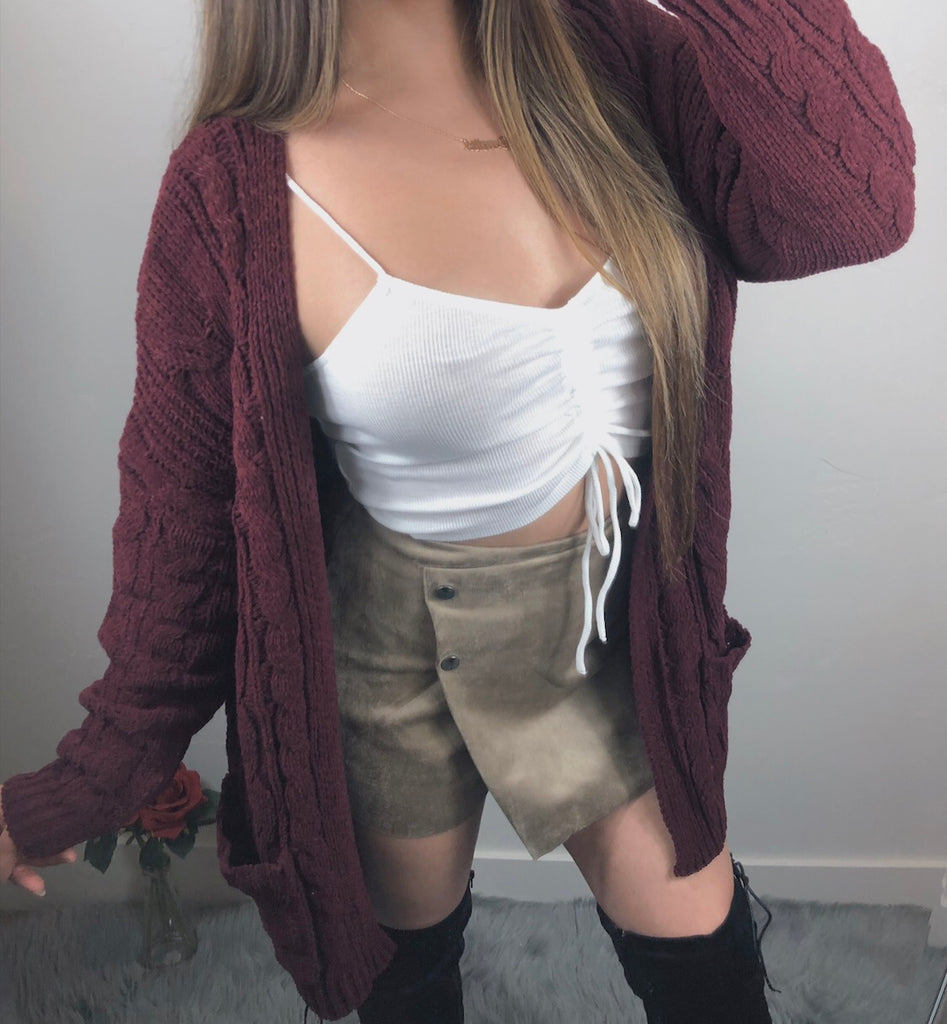 Perfect Weather Cardigan - Burgundy