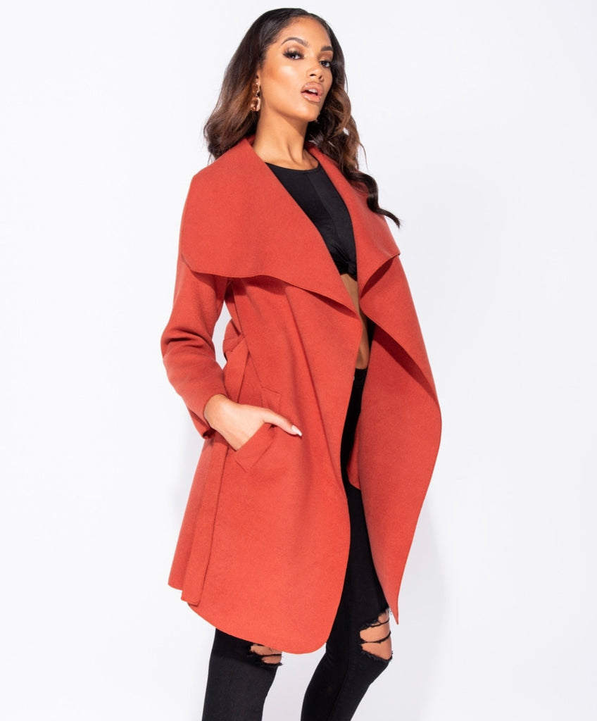 Mariah Waterfall Coat - Rust