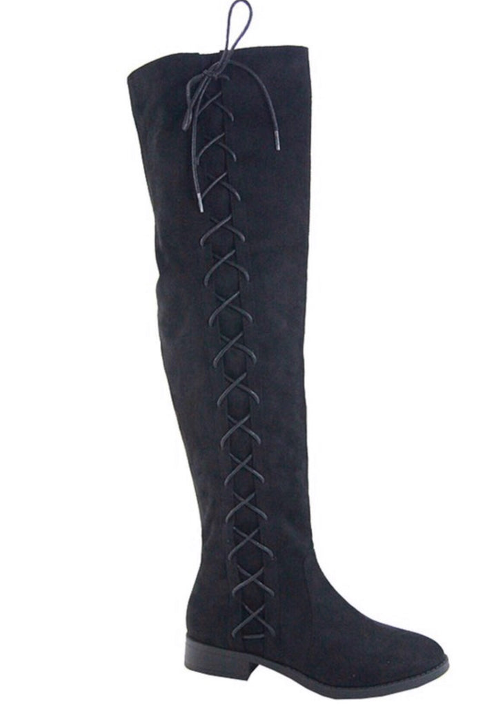 Stuck On You Thigh High Boots - Black