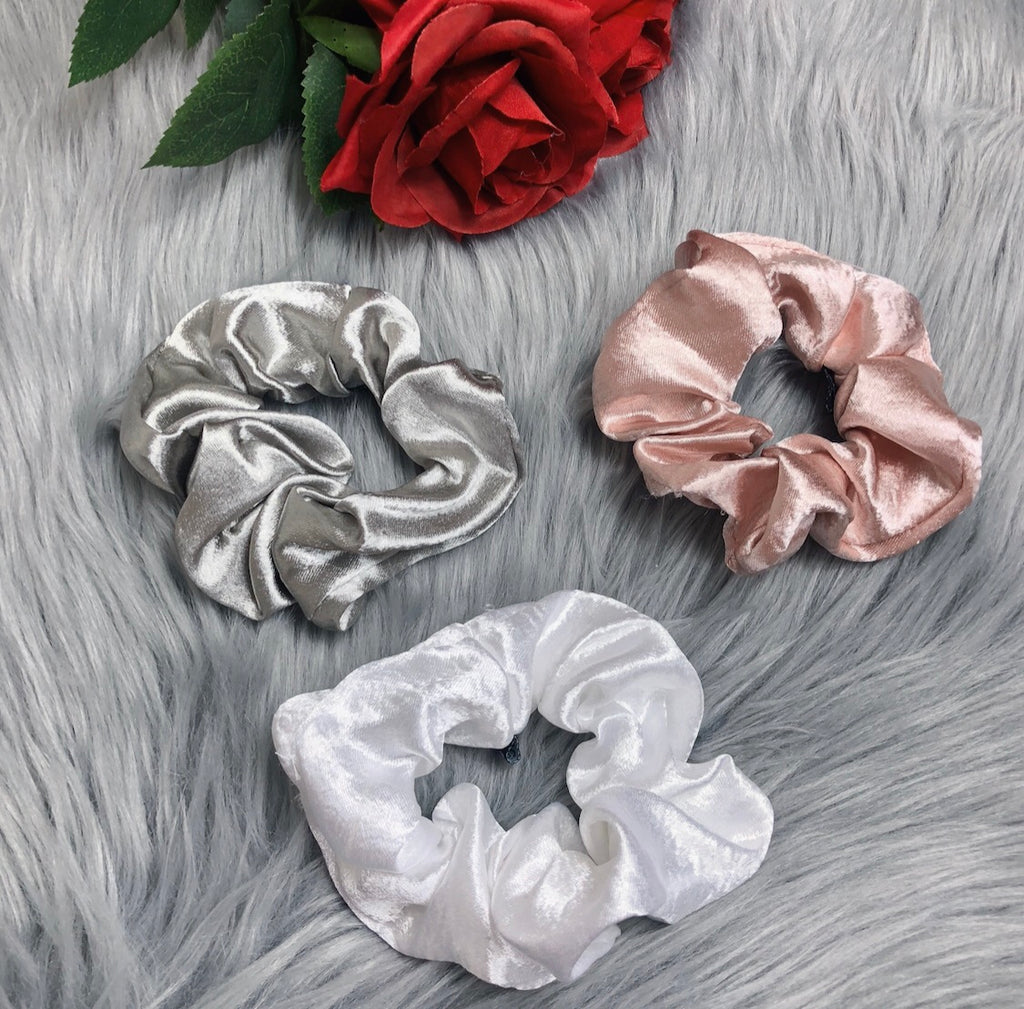 Amour Satin Hair Scrunchie Set