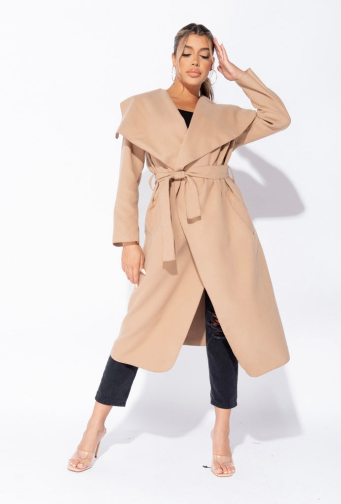 Double Latte (Maxi Length) Waterfall Coat - Camel