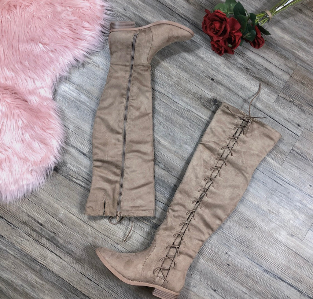 Stuck On You Thigh High Boots - Taupe