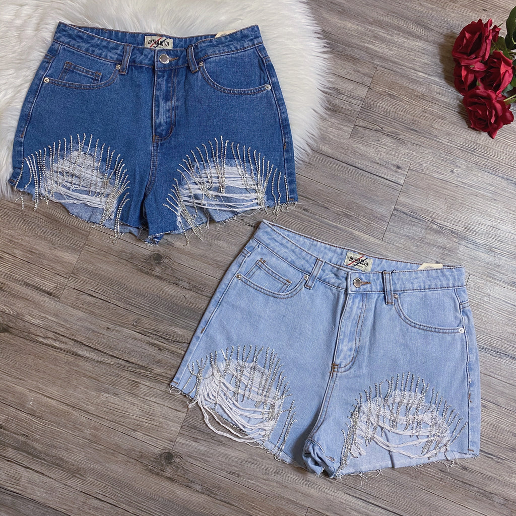 Feeling Festive Shorts - Light Wash