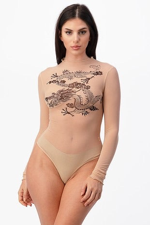 Dragon Bodysuit - Nude
