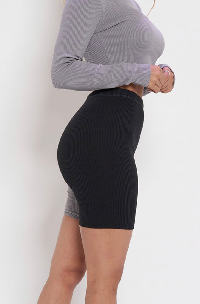 Stand Out Biker Shorts - Grey