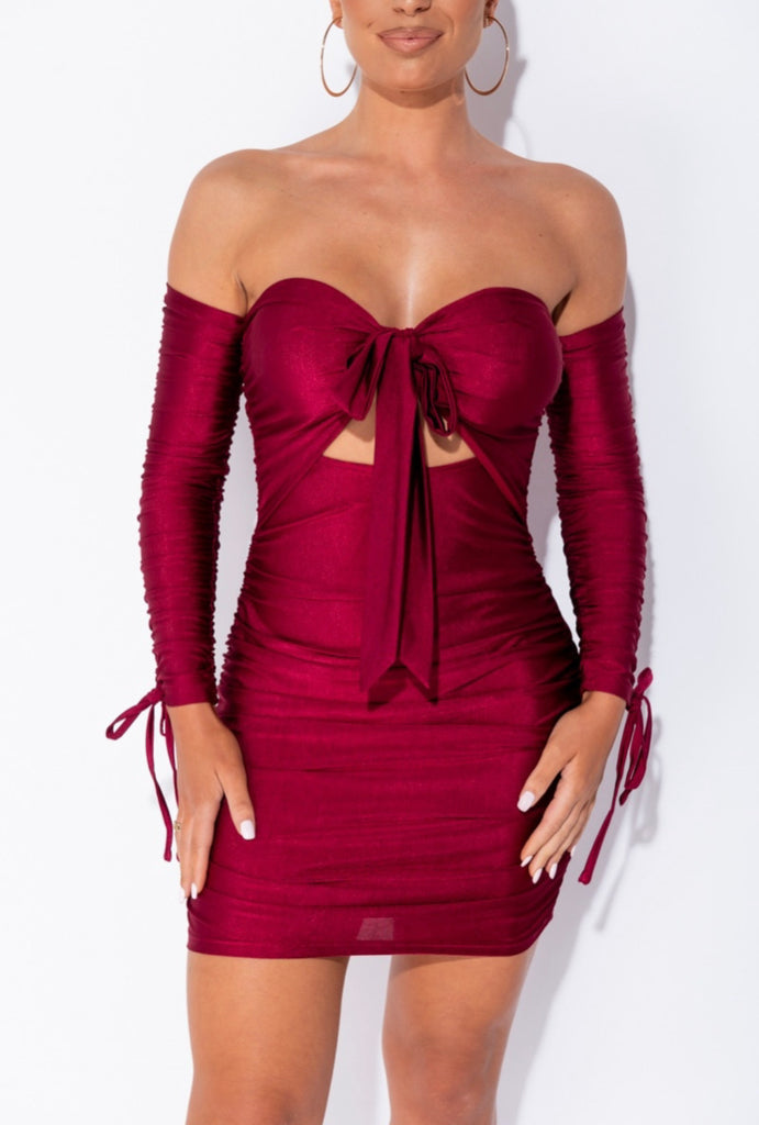 Scarlett Dress - Burgundy