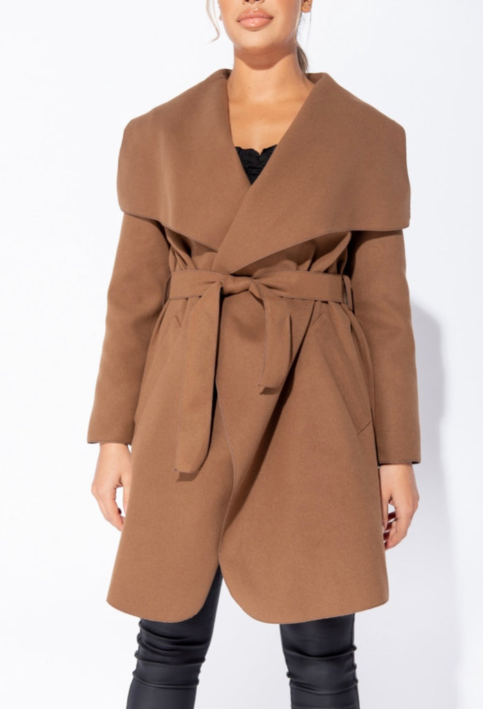 Double Latte (Mid Length) Waterfall Coat - Brown