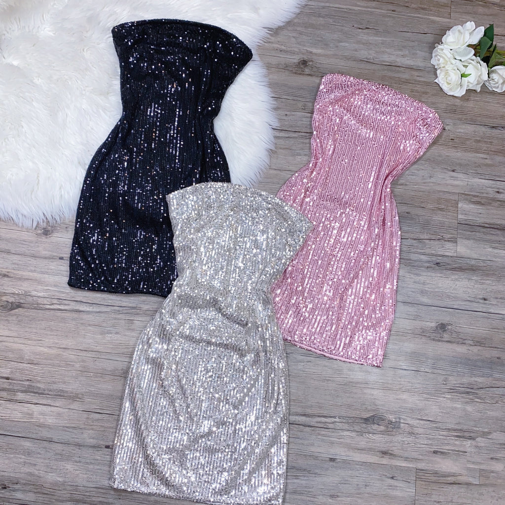 Sparkle All Night Dress - Black