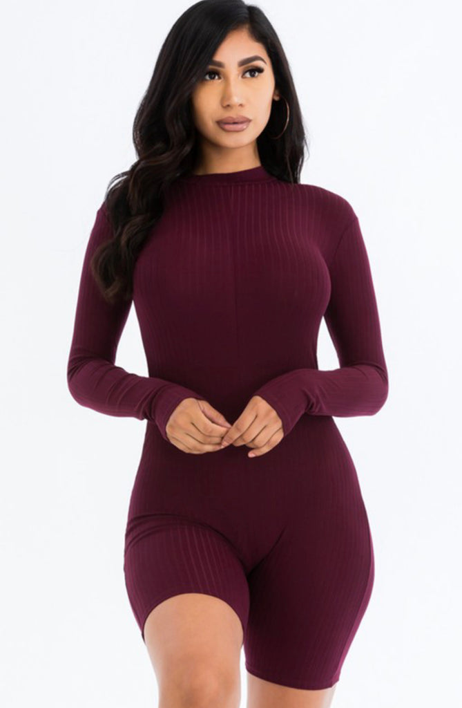 On Trend Romper - Burgundy