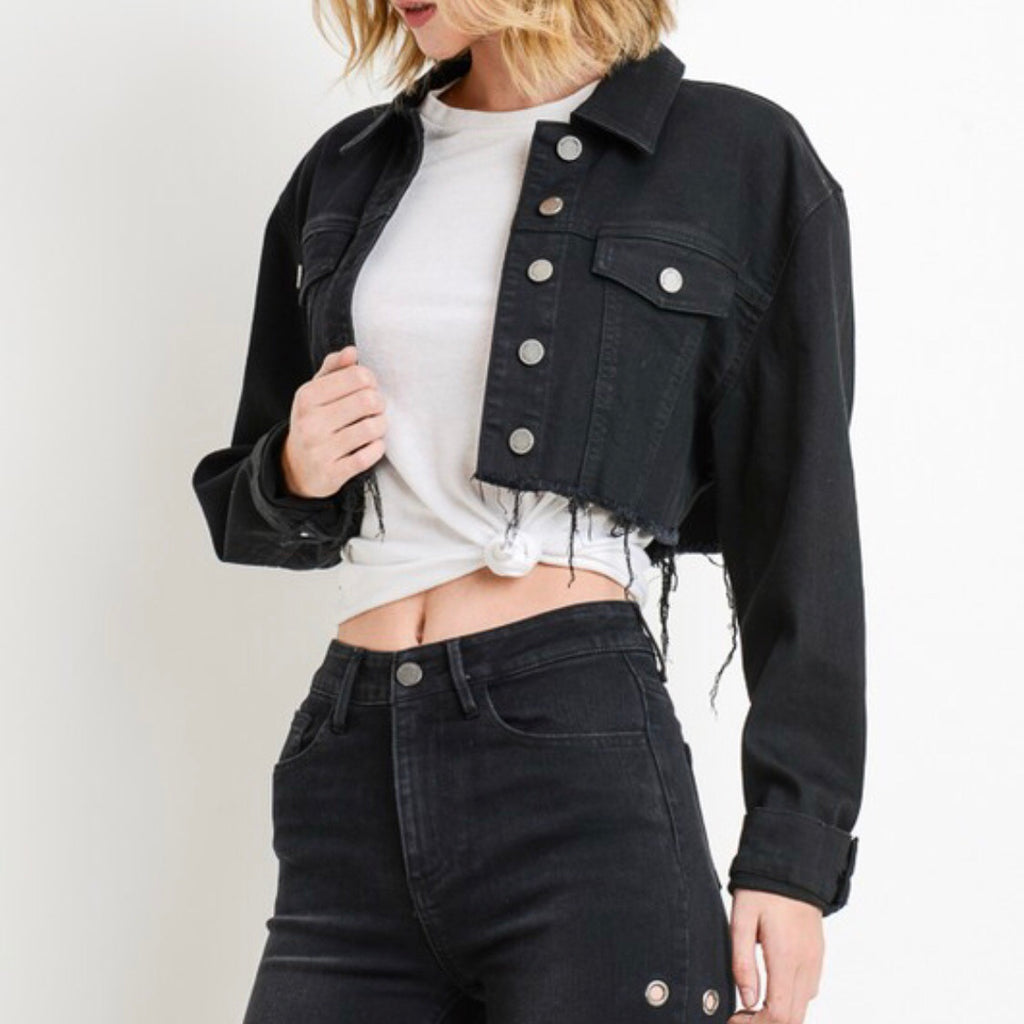 Evelyn Cropped Jacket - Black