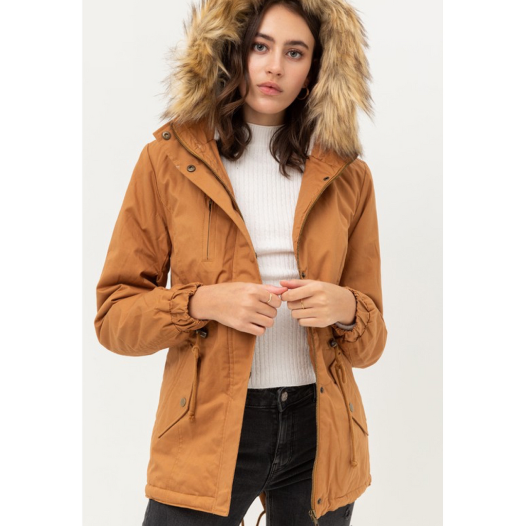 Angie Fur Jacket - Camel