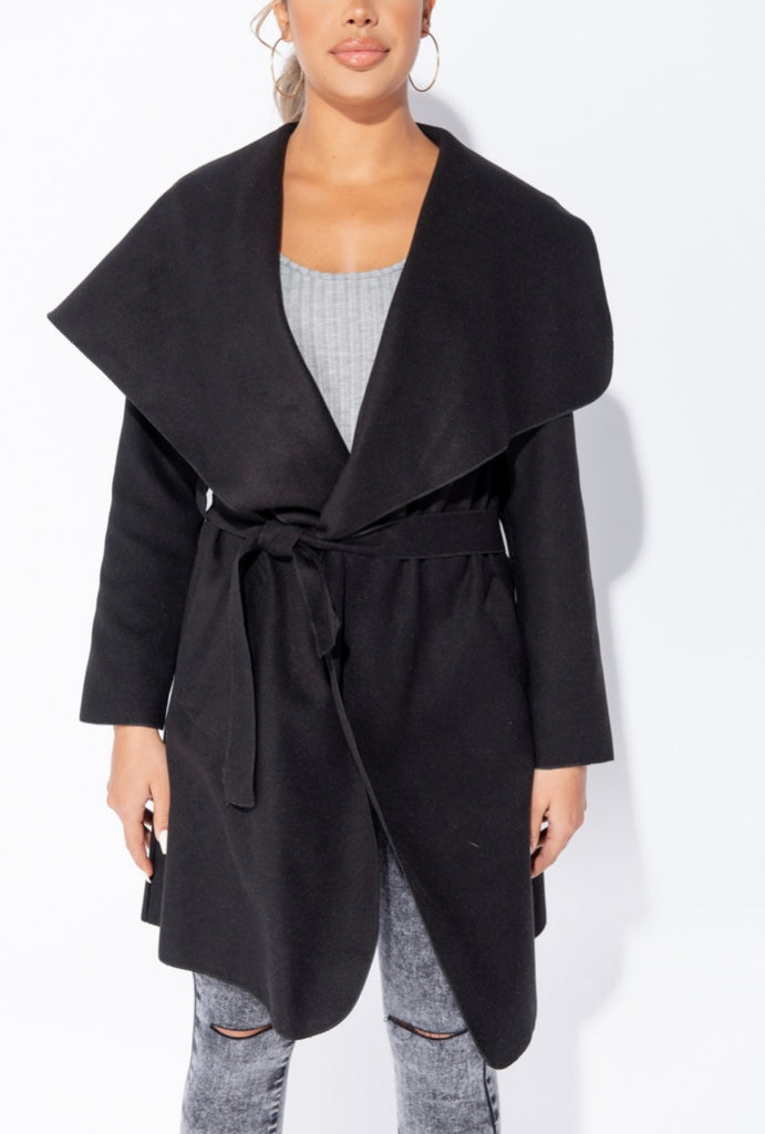 Double Latte (Mid Length) Waterfall Coat - Black