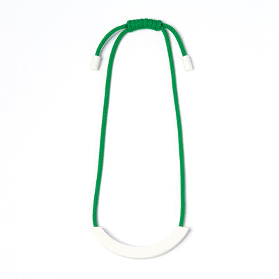 Green White Ceramic Arc necklace
