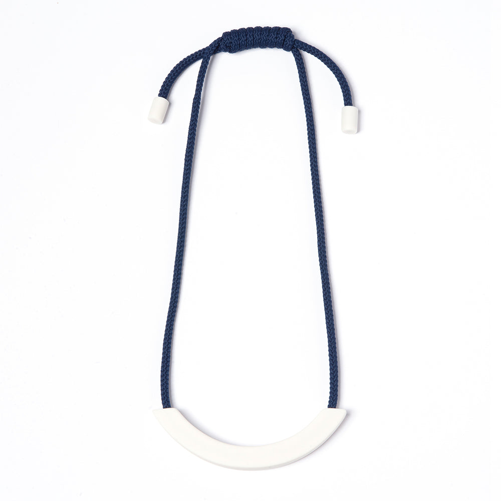 Navy White Ceramic Arc necklace
