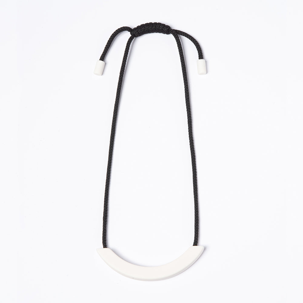 Black White Ceramic Arc necklace