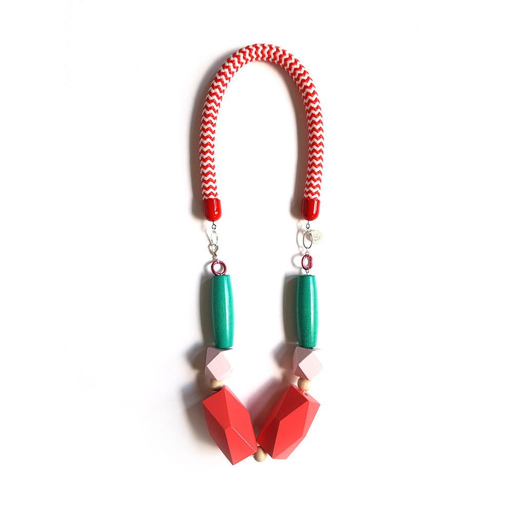 Pop Necklace - Red Coral