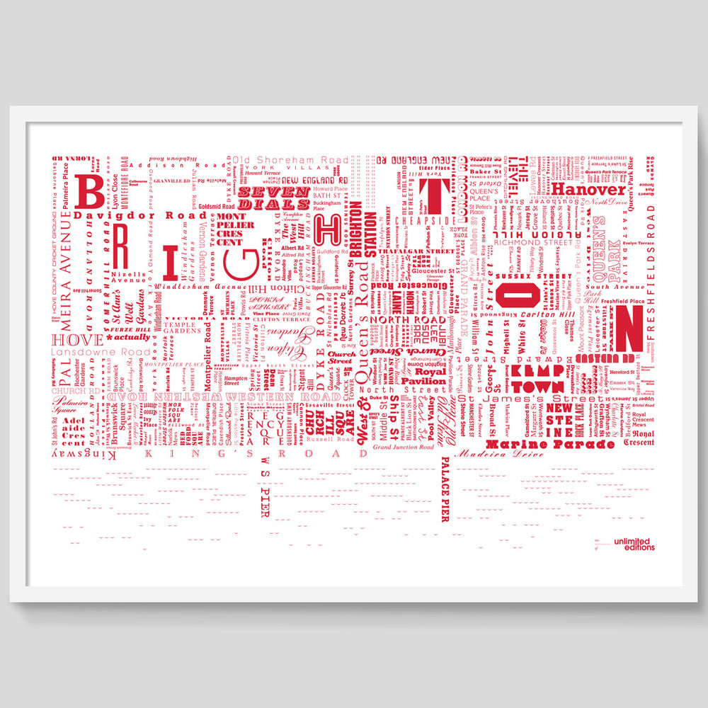 Red Brighton Fontmap print
