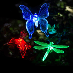 GIGALUMI Solar Garden Lights Outdoor - 3 Pack Solar Stake Lights Multi-Color Changing LED Garden Lights, Premium Butterfly Decorative Lights for Path, Yard, Lawn, Patio